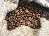 静物咖啡豆麻布袋