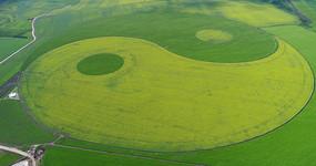 航拍田野农田太极图风景