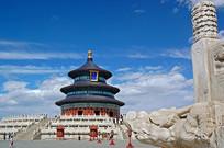 北京天坛祈年殿和汉白玉龙头