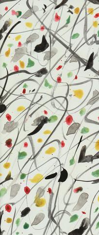 涂鸦线条中式壁画