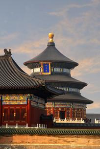 北京天坛祈年殿晚霞