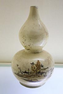 褐彩山水纹葫芦瓶清代