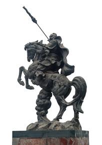 三国故事人物张飞骑马作战雕塑