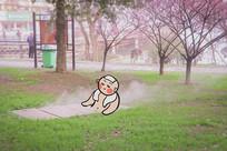 户外洗澡绘画摄影