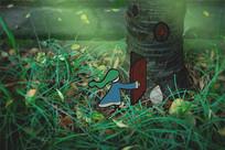 绿色森林创意画-精灵开门