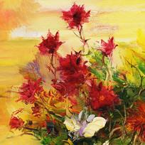 手绘花卉油画