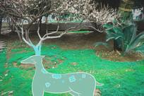 树与梅花鹿创意插画摄影