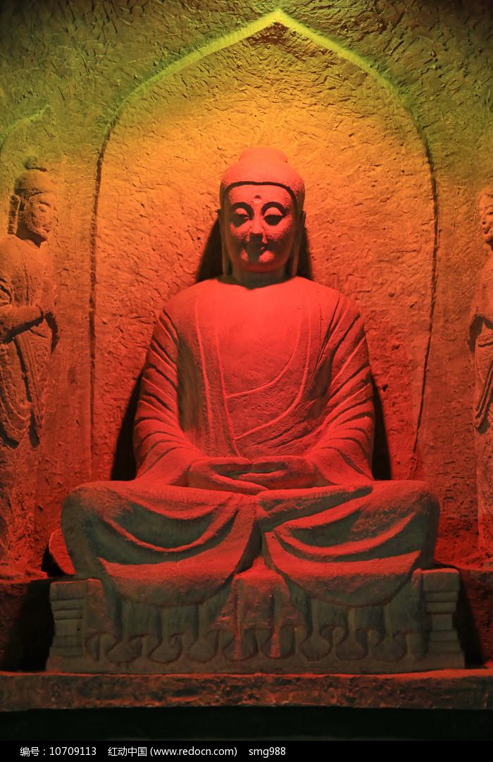 佛像坐像五彩光图片