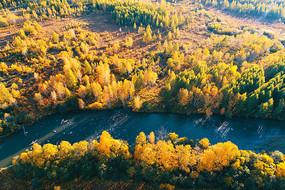航拍森林河秋色