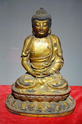 明代鎏金释迦牟尼铜像