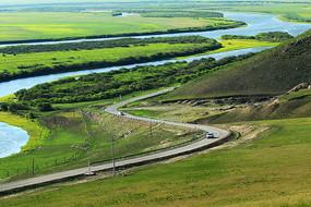 草原牧场河湾边境公路