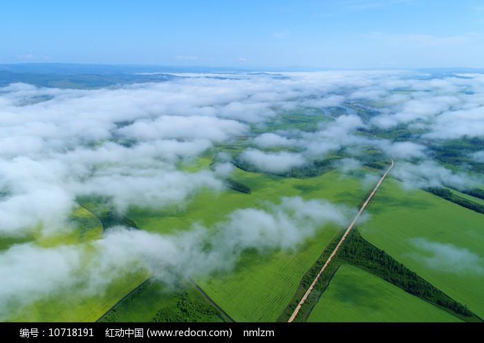 航拍云雾中的田野图片