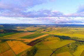 航拍呼伦贝尔色彩斑斓的农田