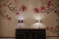 梅花图案背景墙大堂