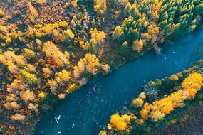 大兴安岭森林金秋河流