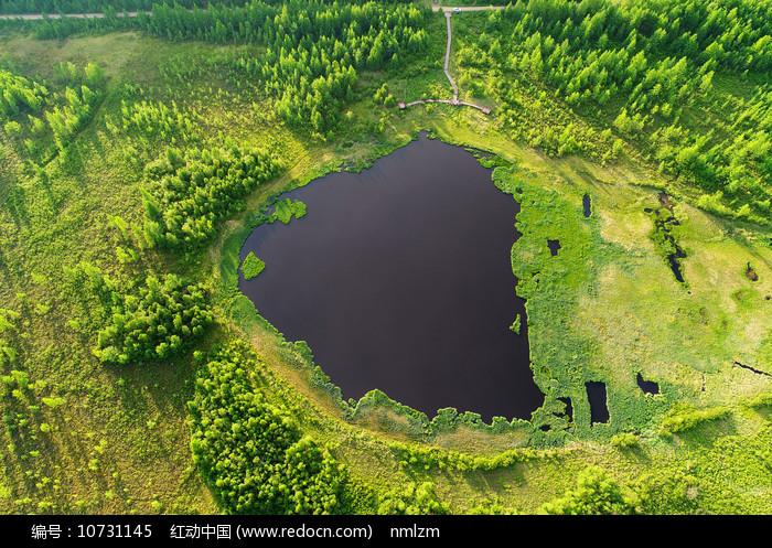 航拍大兴安岭森林湖风光图片