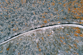 航拍秋林公路雪景