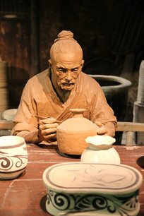 古人制瓷雕像