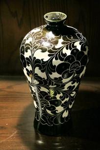 黑花小口瓶磁州窑