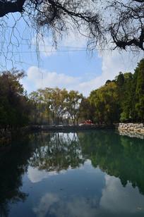 湖泊蓝天风光