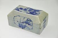 清代山水图印盒