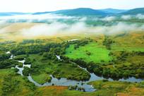 森林湿地河湾云雾