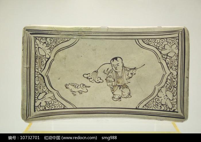 婴戏荷鸭瓷枕头元代图片