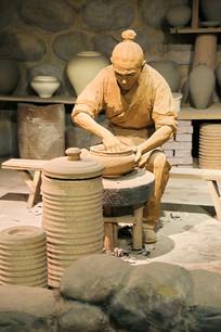 制瓷工艺复原雕像拉胚