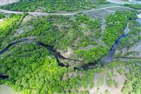 丛林河湾地貌风景(航拍)