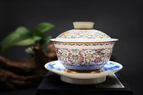 珐琅彩盖碗茶杯