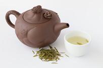 紫砂壶和陇南龙井茶绿茶