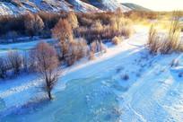 朝阳笼罩下的雪域冰河树林朝阳