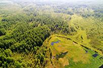 航拍大兴安岭林海中的湿地