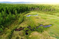 航拍大兴安岭山林湿地