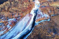 航拍森林冰河风光