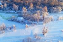航拍冰封河流丛林景观