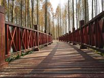 红色木栈道