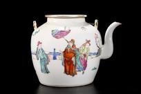 民国人物故事粉彩茶壶