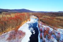 山林冰河(冰封河流)红柳