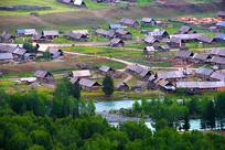 新疆喀纳斯禾木晨雾小木屋摄影图片