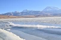 雪山冰船湖泊风景