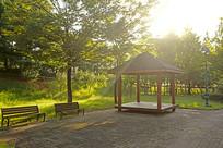 韩国水原孝园公园的传统凉亭