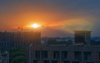 月荷湖住宅区夕阳风光