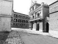 上海影视城古建筑黑白摄影