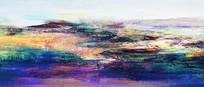 抽象风景画床头长幅画