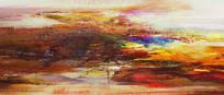 暖色的抽象油画
