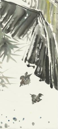芭蕉叶下水墨画