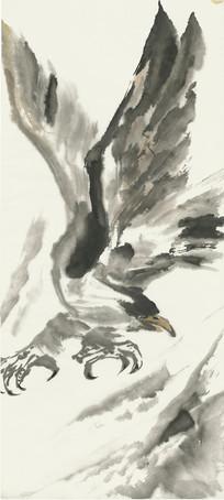 老鹰展翅水墨画