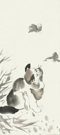 猫咪与蝴蝶国画