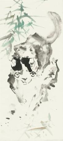 写意猫咪水墨画